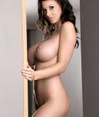 Alice Goodwin, brunette, strip, nude, busty, ass