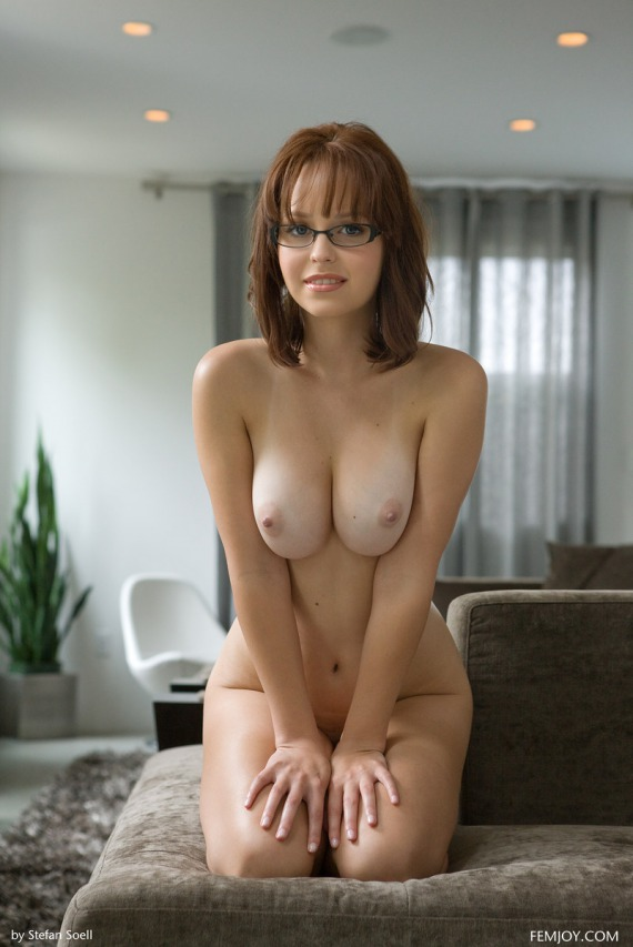 Hayden Winters, brunette, busty, naked, shaved, strip, glasses, reading