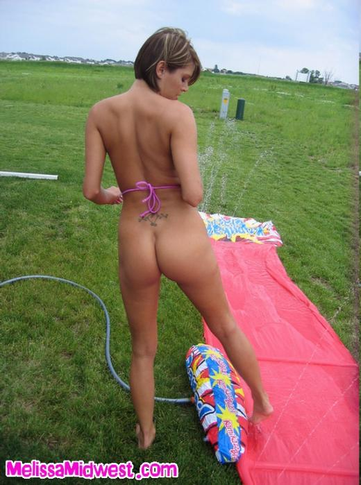 nude girls water slide