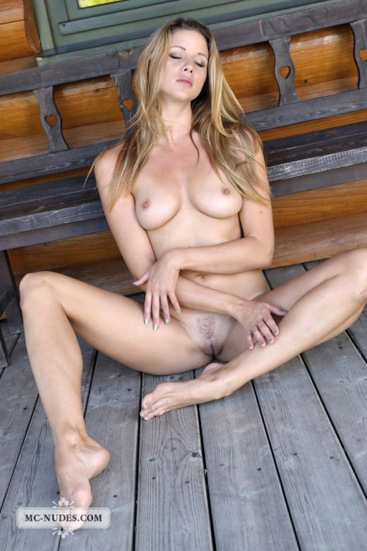 on porch Naked