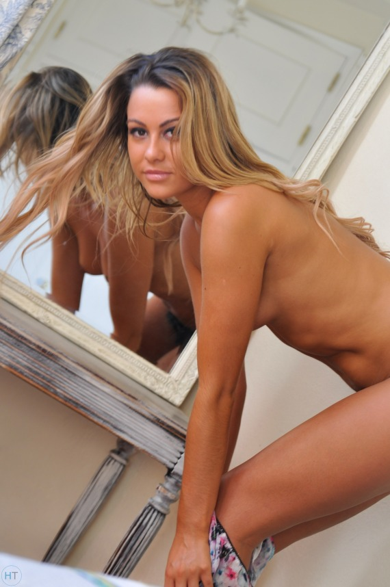 Harriette Taylor, blonde, strip, nude, boobs, pose, mirror