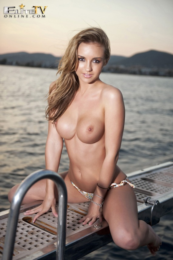 Dionne Daniels, blonde, strip, topless, boobs, boat