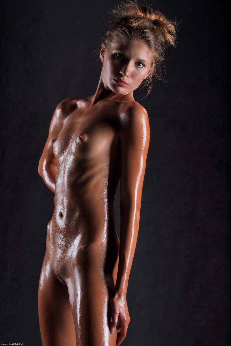 Nude girls blonde up oiled