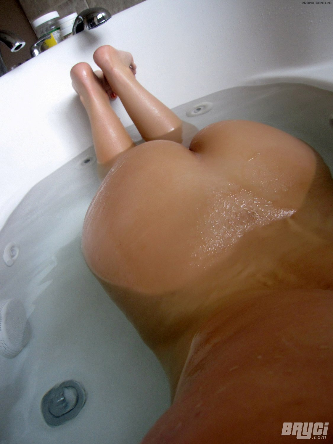 shot Brunette bathtub self